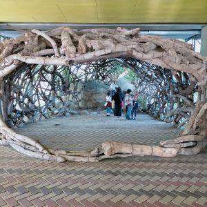 天神山文化プラザでは流木を組み立てた鯰が大きな口を開けて出迎えてくれました。 土地と作品が一体になった子ども達には一番人気の作品。